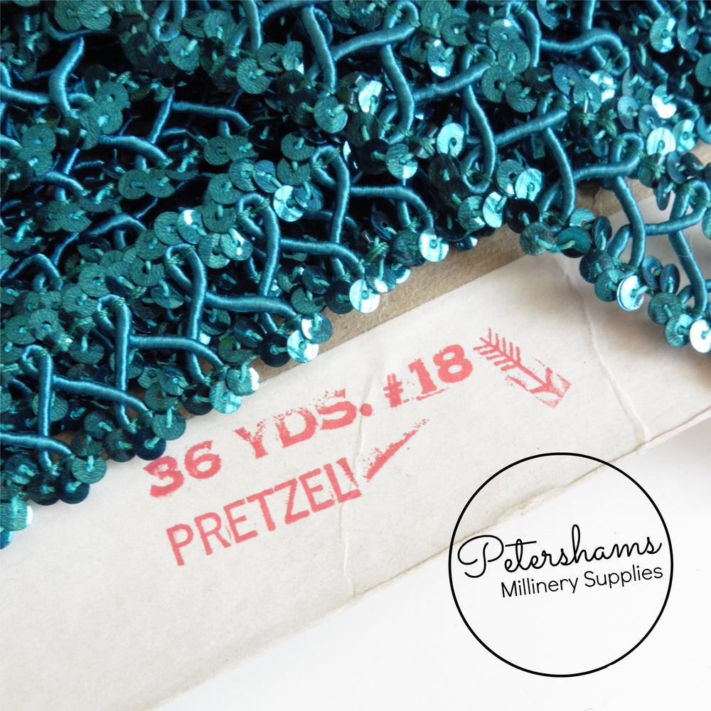 Vintage 1960s/70s 'Pretzel' Sequin and Satin Rope Braid - 1m