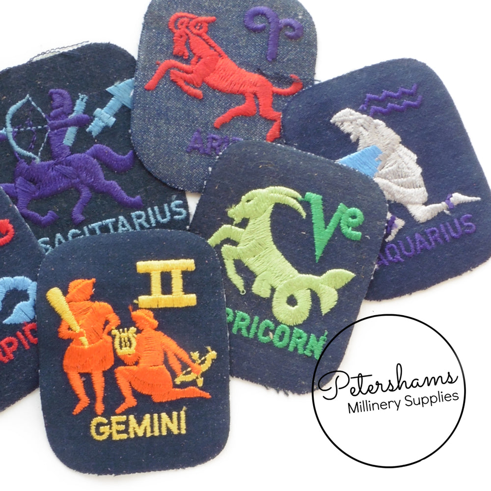 Vintage 1960s Denim Iron-On Zodiac Patches