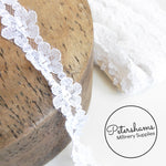 Vintage White 1970s Floral Lace Sheer Ribbon - 1m