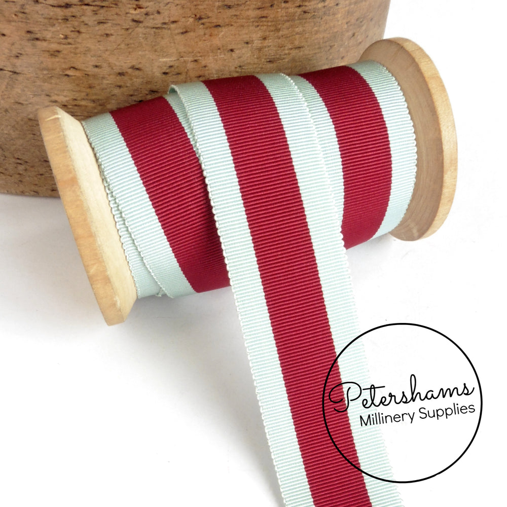 Vintage 28mm Wide Stripe Petersham Ribbon - 1m