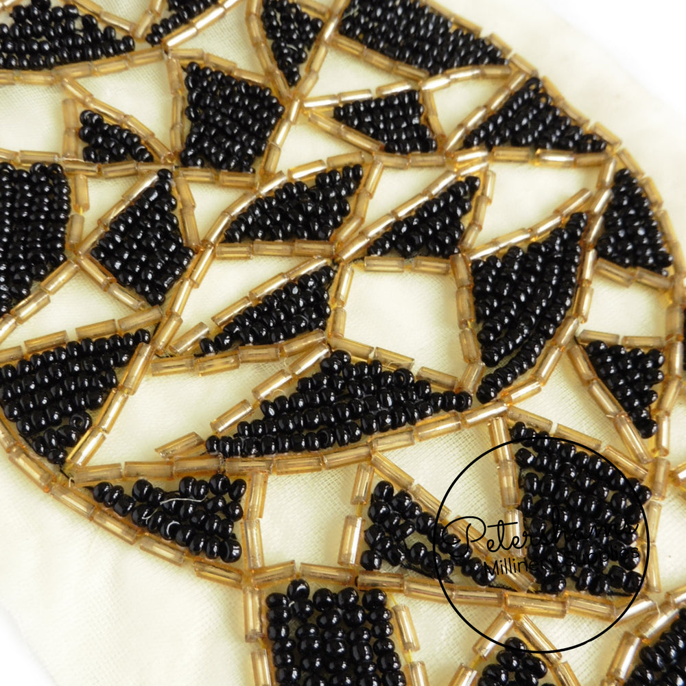 9cm Wide Heavy Beaded Black and Gold Art Deco Inspired Trim - 1m