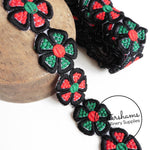 Vintage 50mm Wide Austrian Embroidered Flower Trim - 1m