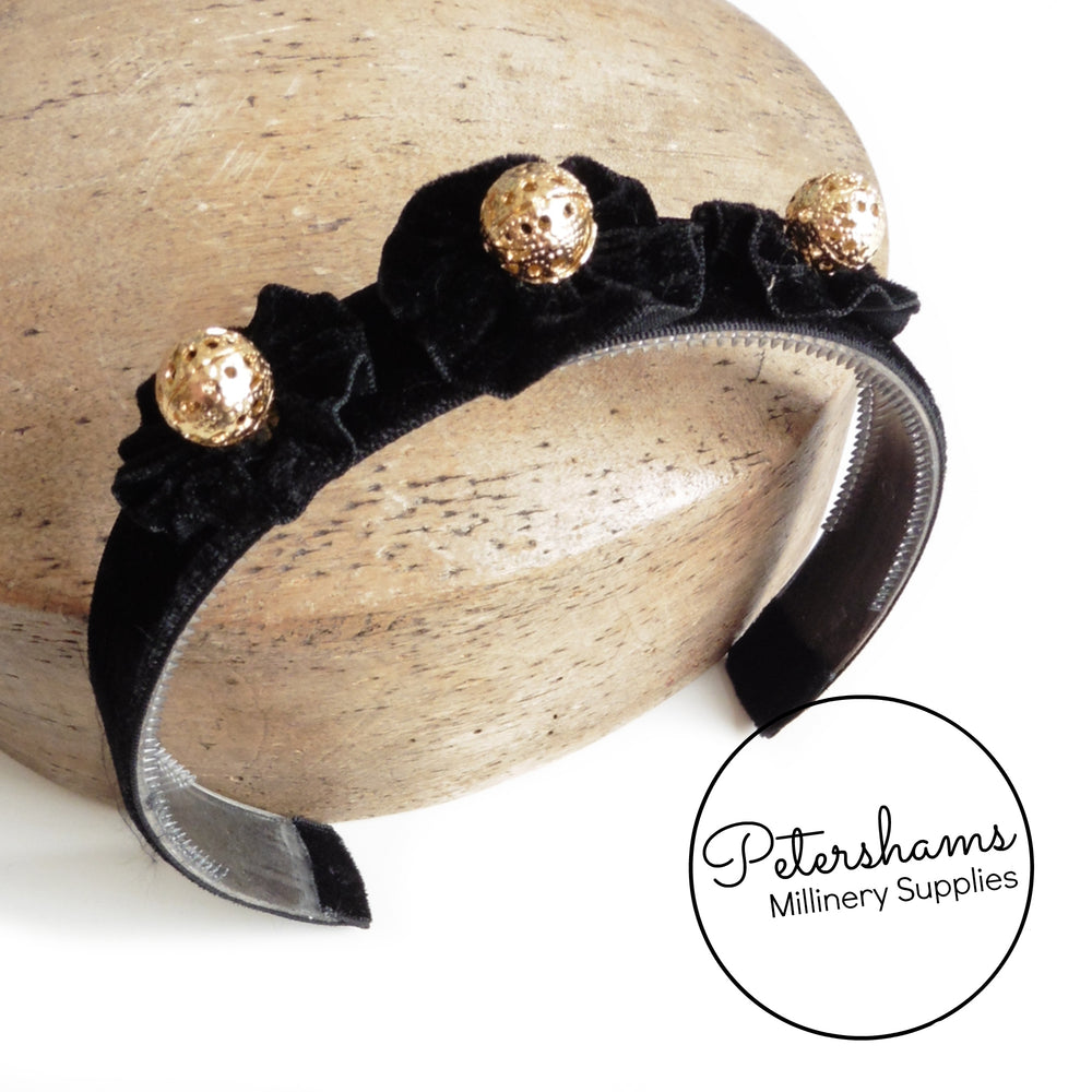 Vintage 1970s Black Velvet Headband with Gold Beads