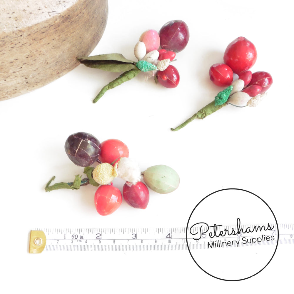 Busted Vintage 1940s Bargain Berries - Plum Berries