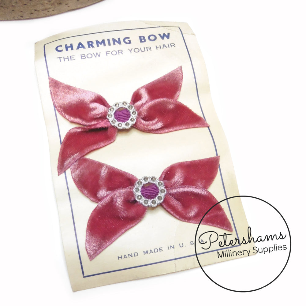 Vintage 1960s Charming Velvet Hair Bows on Card