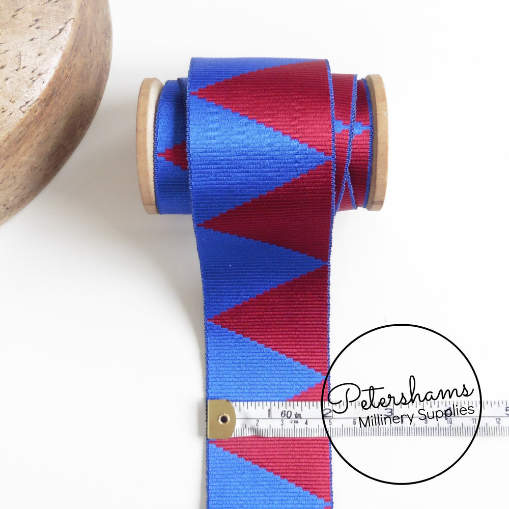 Vintage 50mm Wide Woven Deluxe Triangle Pattern Ribbon - 1m