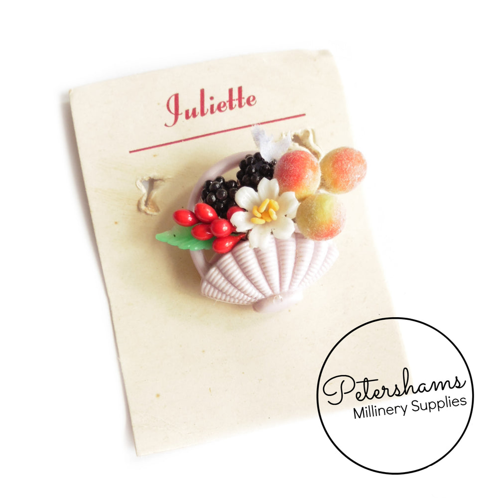 Vintage 1950s Juliet Glass & Plastic Fruit Basket Brooch