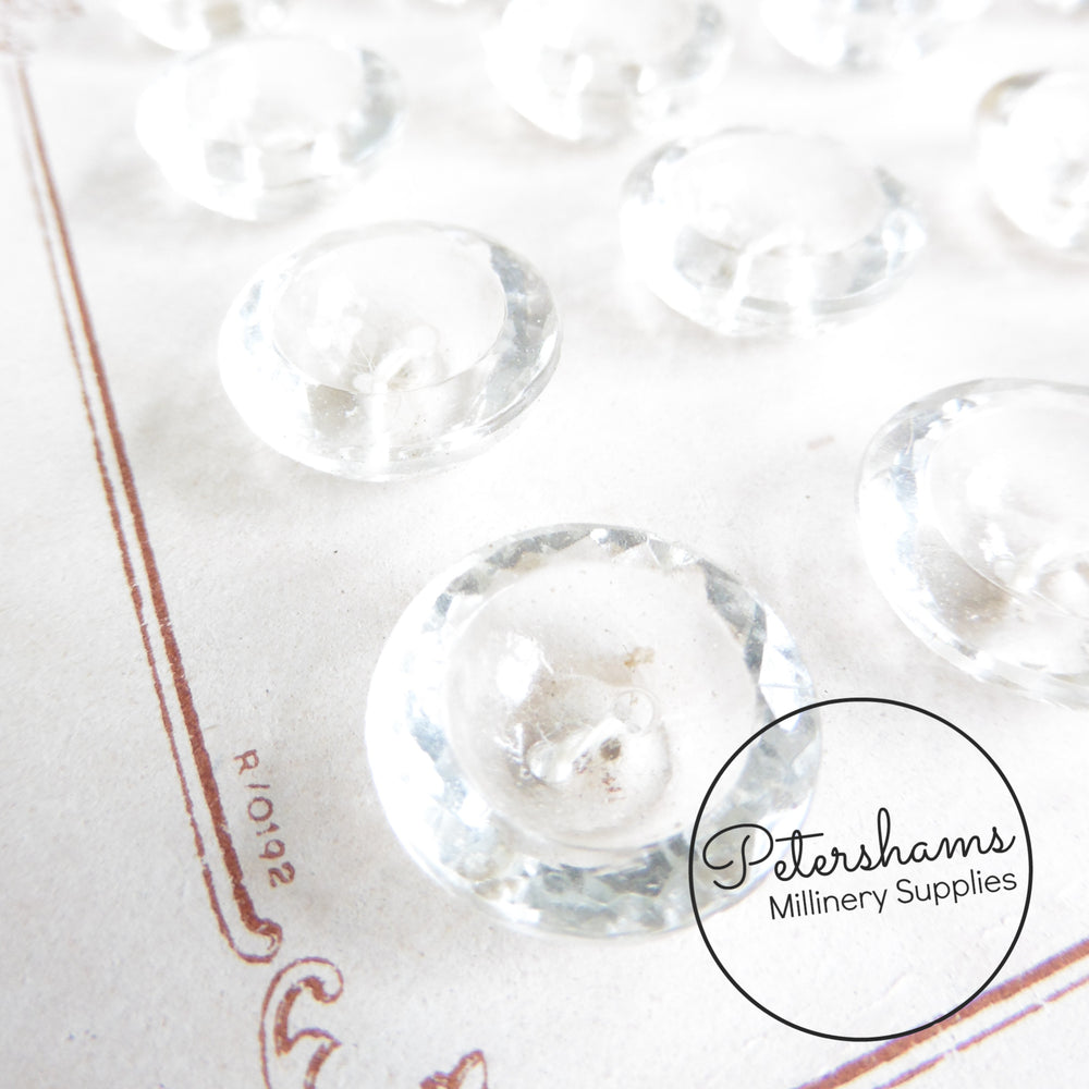 Clear Glass 13mm Vintage 1940s/50s Buttons - Sheet of 24