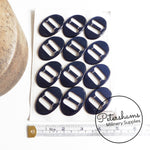 Vintage 1950s Oval Shimmer Navy Blue Buckles - Sheet of 12