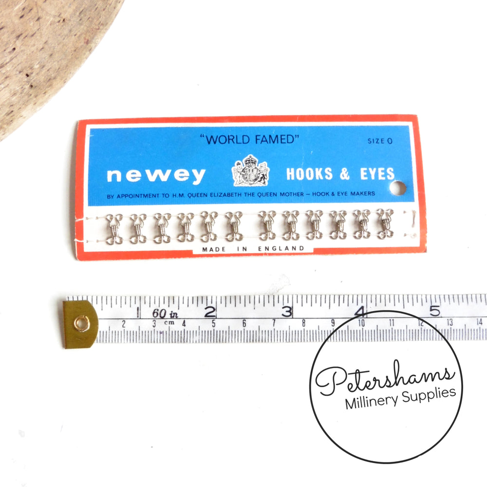 'World Famous' Vintage 1960s Newey Silver Hooks & Eyes Size 0 - 12 Sets