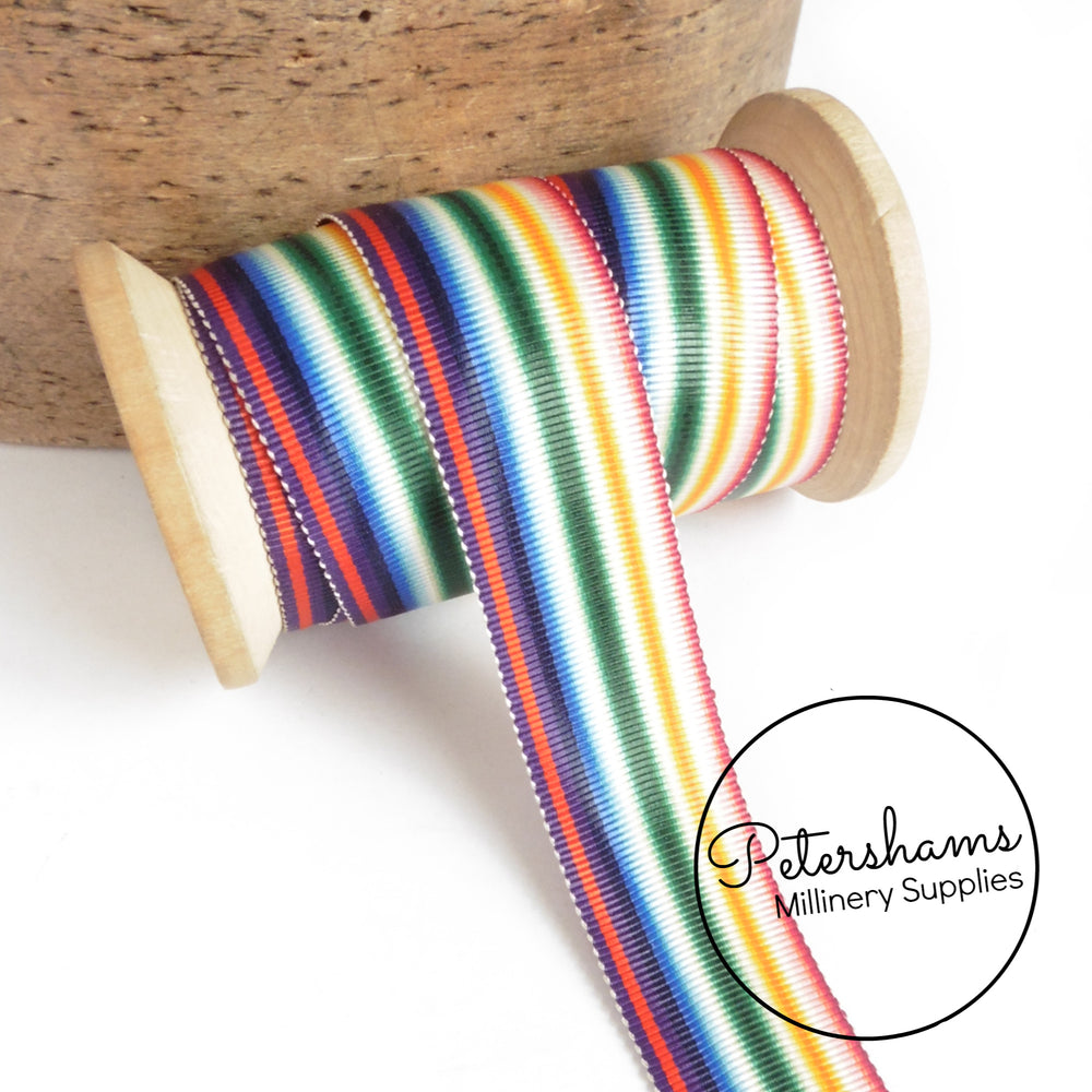Vintage 25mm Wide No.5 Stripe Moire Petersham Ribbon - 1m
