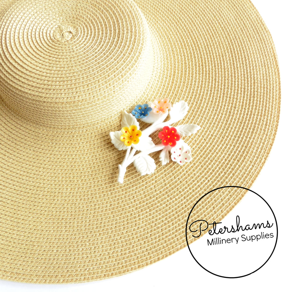 Vintage 1950s White Multi-colour Flower Sprig Brooch
