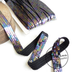 Vintage French 1960s Sequin 28mm Wide Ribbon - 1m