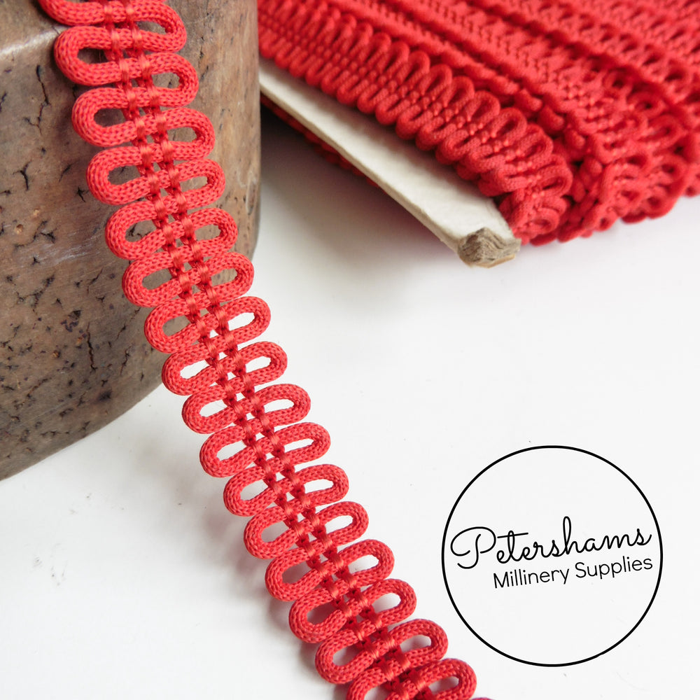 Vintage 1960s Squiggly Red Trim - 1m