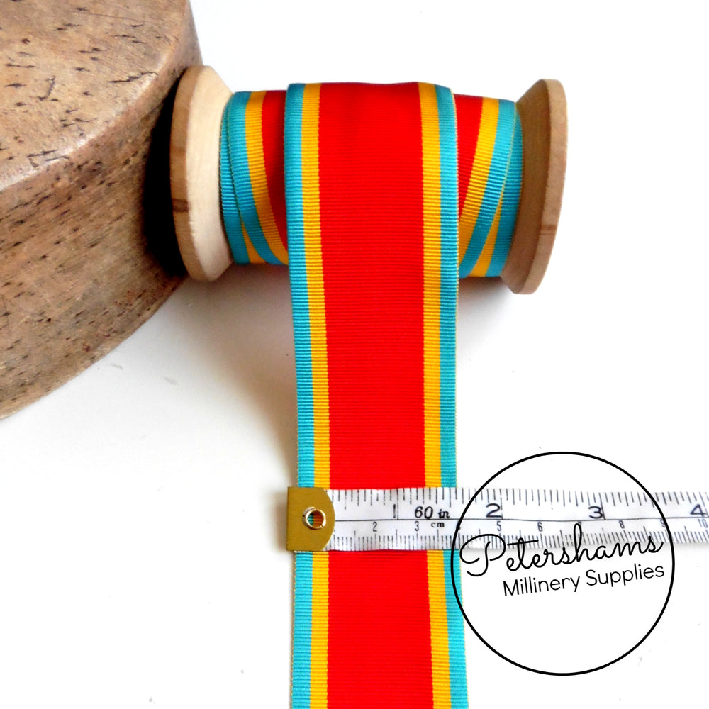 Vintage 40mm Wide Striped Grosgrain Ribbon - 1m