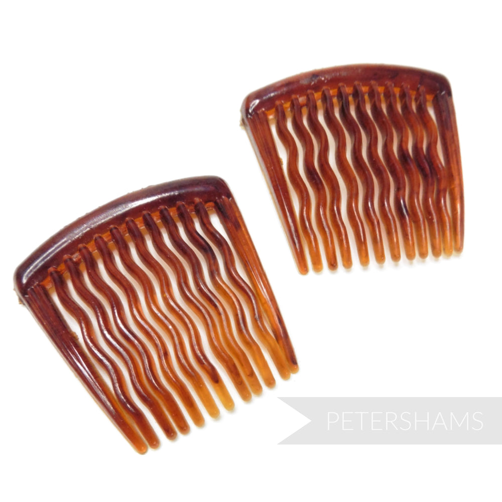 37mm Vintage 1940s/50s Small Tortoise Hair Combs - 2 Combs