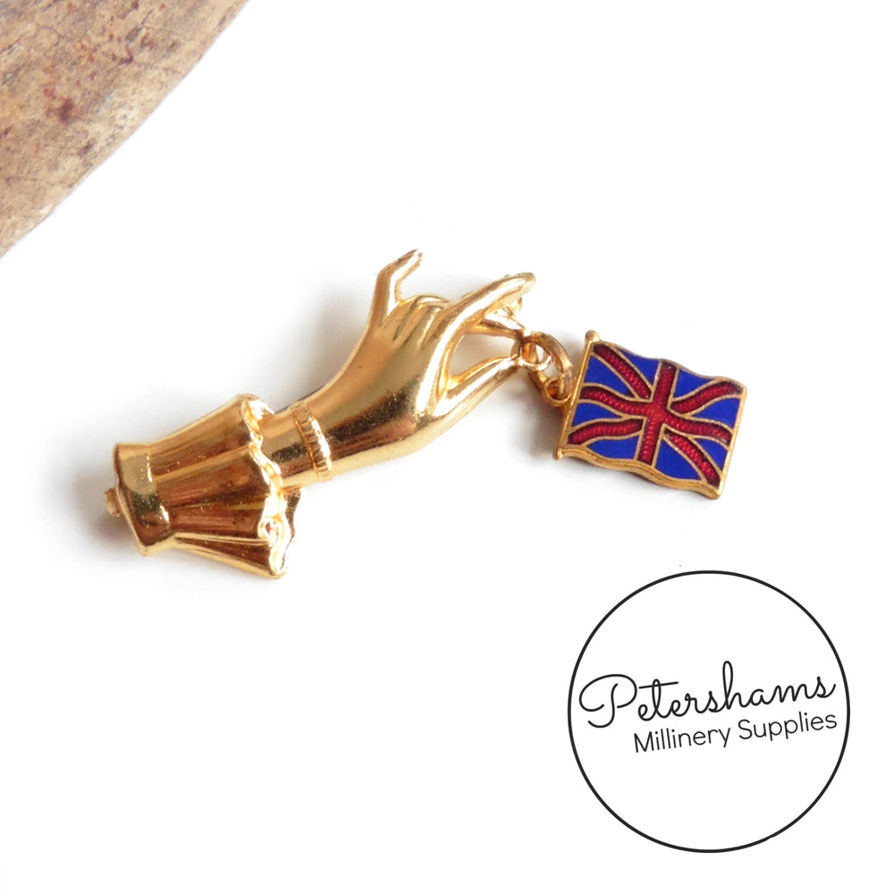 Hand Dangling Union Jack Vintage 1940s Brooch Pin
