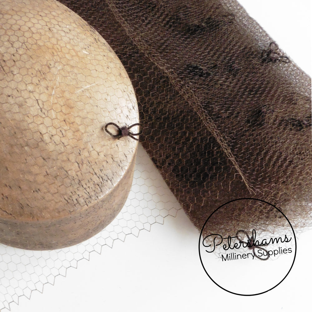 'Bowie' Vintage Brown Honeycomb Veiling with Chenille Bows - 1m