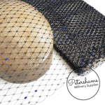 'Anastasia' Vintage 1940s/50s Dark Navy Blue Veiling with Royal Blue Dots - 1m
