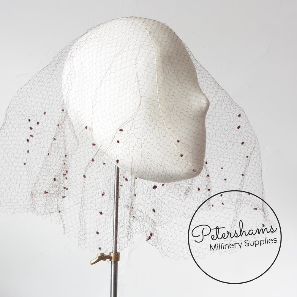 Vintage 1930's/40s Dotted Veiling Round - Mini Cascading Dots