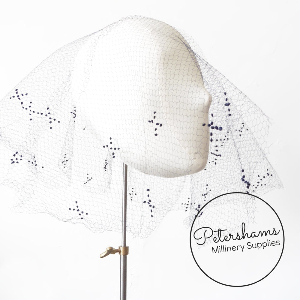 Vintage 1930's/40s Dotted Veiling Round - X's