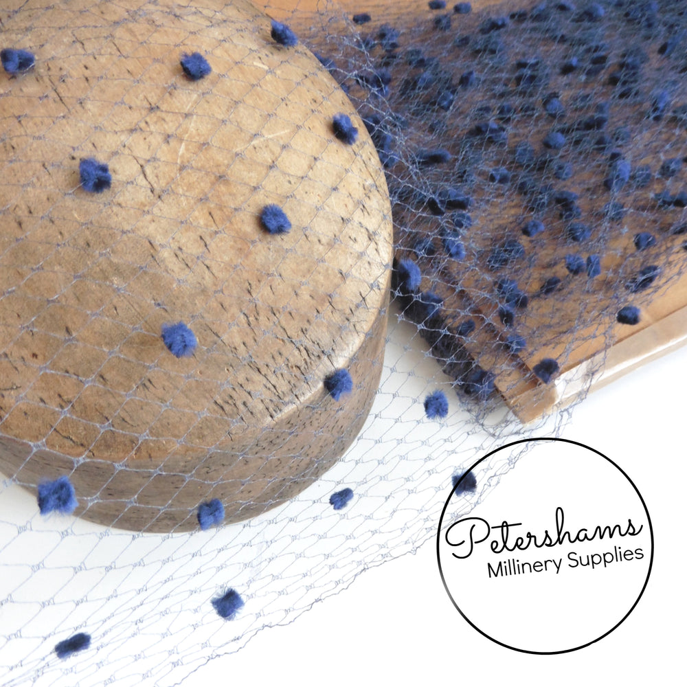 1940's Super Dotted 'Fran' Navy Blue Veiling - 1m
