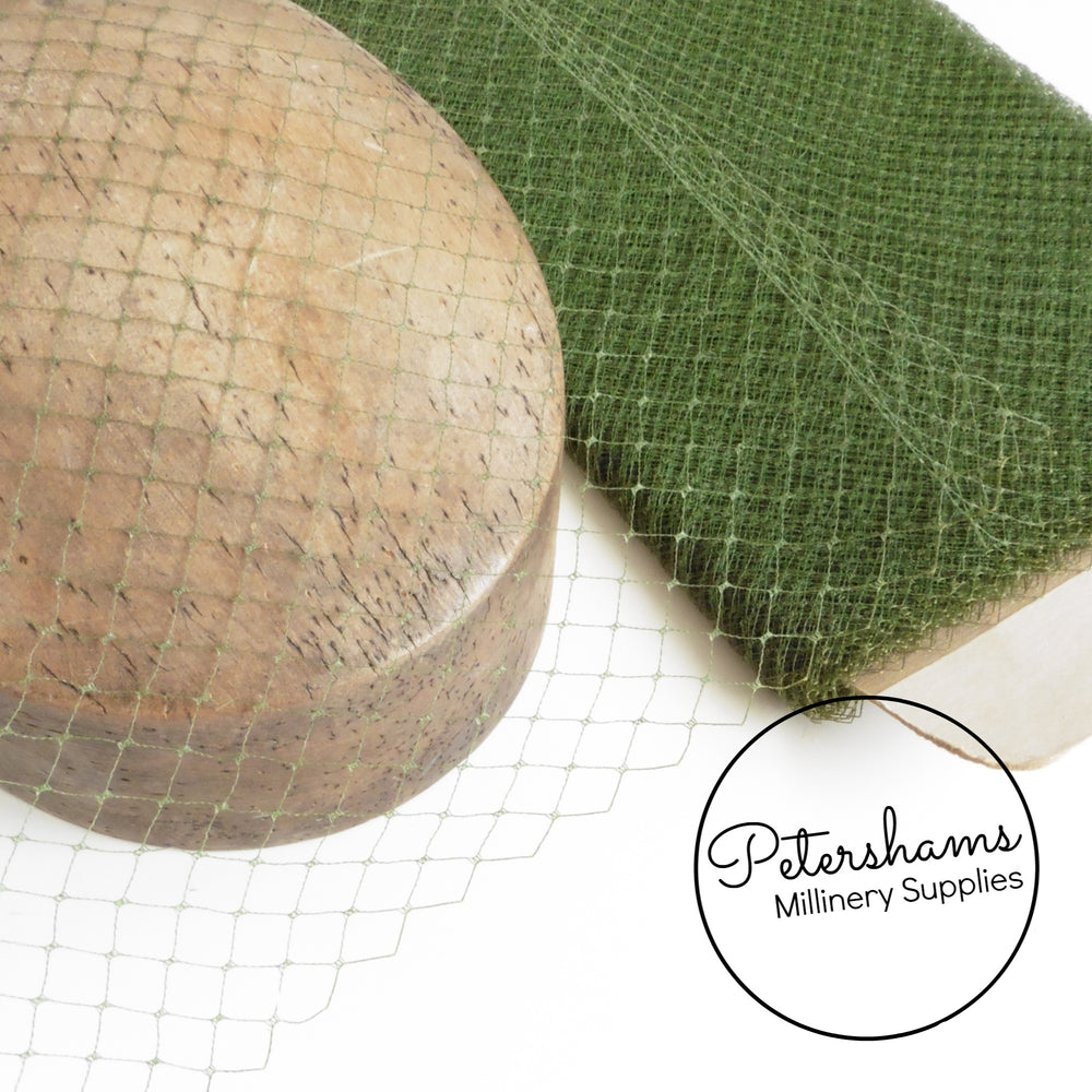 'Tamara' Vintage 1940s/50s Olive Green French Net Veiling - 1m
