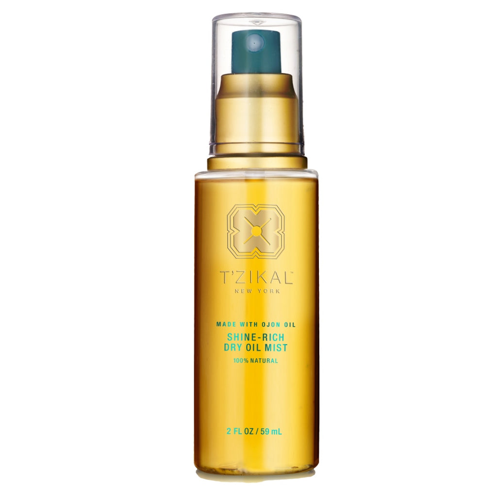 T'zikal All Natural Haircare with ojon oil Product Spotlight Shine Rich Dry Oil Mist