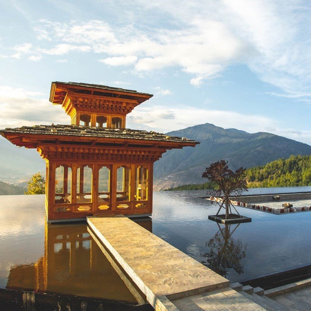 Discover Six Senses Buthan, Secret Wellness Destination Thimphu Reflecting Pool, Discover T'zikal All Natural Haircare with ojon oil