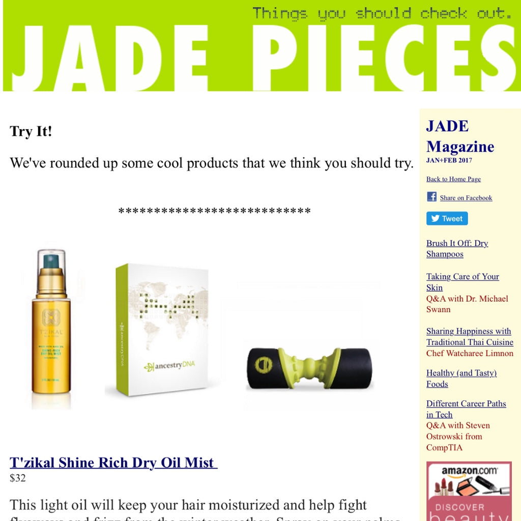 T'zikal All Natural Haircare with Ojon Oil Press Jade Magazine Reviews Shine Rich Dry oil Mist
