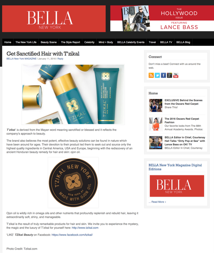 T'zikal All Natural Haircare with Ojon OIl Press Bella NY Magazine Hollywood 2016 Issue