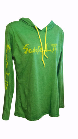 Ladies Heathered Green Hoodie w/Bright Lime Logo