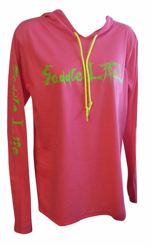 Ladies Neon Pink Hoodie w/Bright Lime Logo