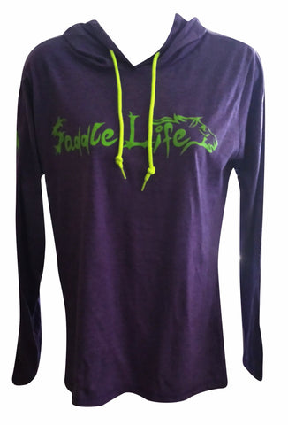 Ladies Heathered Purple Hoodie w/Bright Lime Logo