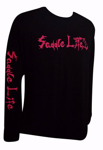Black Long Sleeve Tee w/Hot Pink Logo