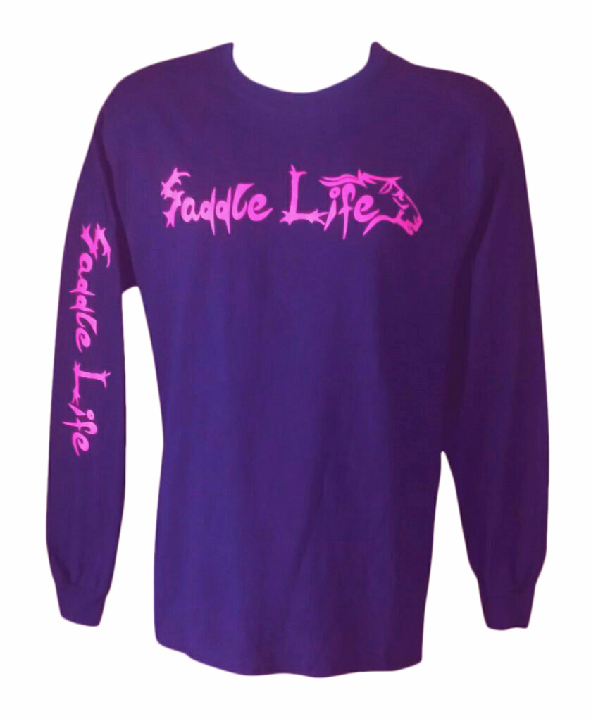 Purple Long Sleeve Tee w/Hot Pink Logo Tee