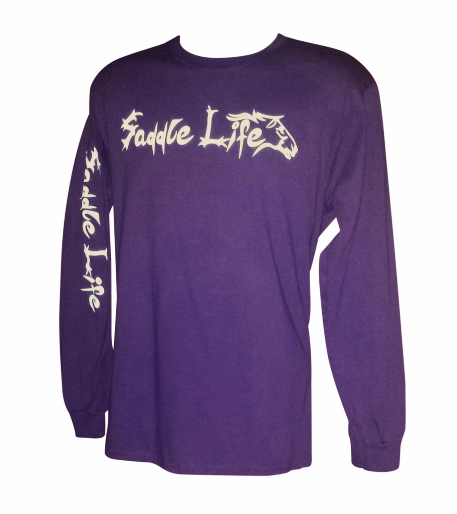 Purple Long Sleeve Tee w/White Logo