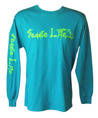 Sapphire Blue Long Sleeve Tee w/ Bright Lime Logo