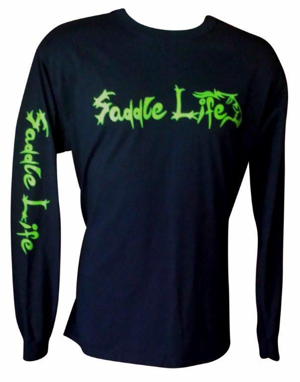 Navy Long Sleeve Tee w/Bright Lime Logo