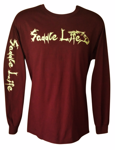 Burgundy Long Sleeve Tee w/Tan Logo