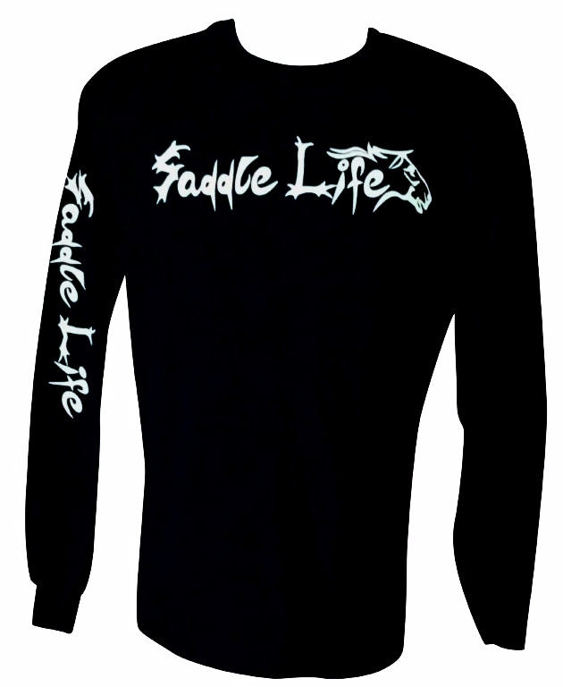 Black Long Sleeve Tee w/ Bright White Logo