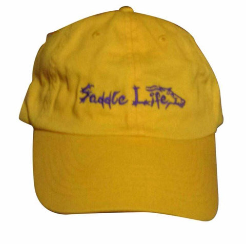 Bright Lemon Yellow Cotton Twill Hat w/Purple Logo