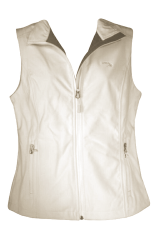 Ladies Off-White Vest w/Gray Embroidered Logo