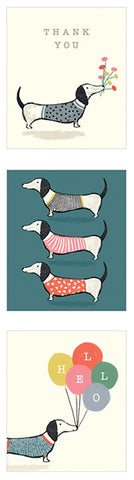 Twelve Dachshund Themed Notelets