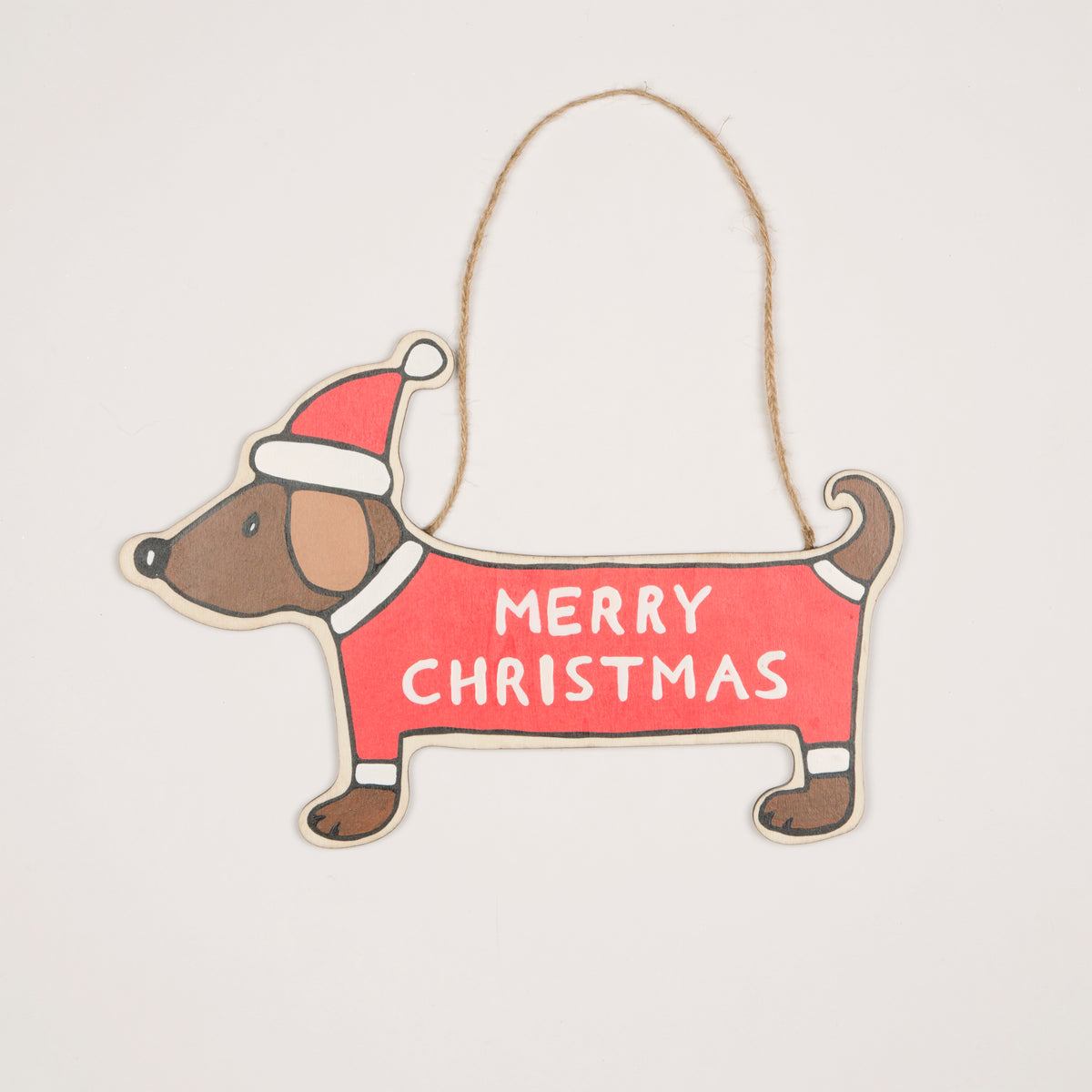 Merry Dachshund Hanging Decoration Dedicated 2 Dachshunds