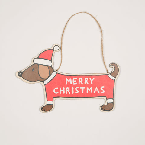 Merry Dachshund Hanging Decoration
