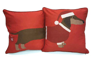 Santa Sausage Dog Reversible Cushion Covers