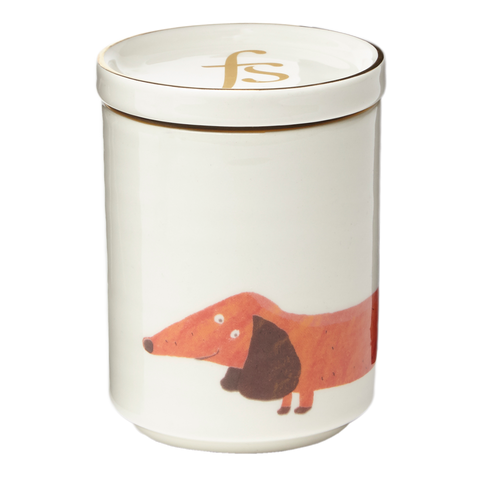 Fenella Smith's Gilt Edged Dachshund Lidded Candle