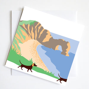 Durdle Door Walk Dachshund Greeting Card