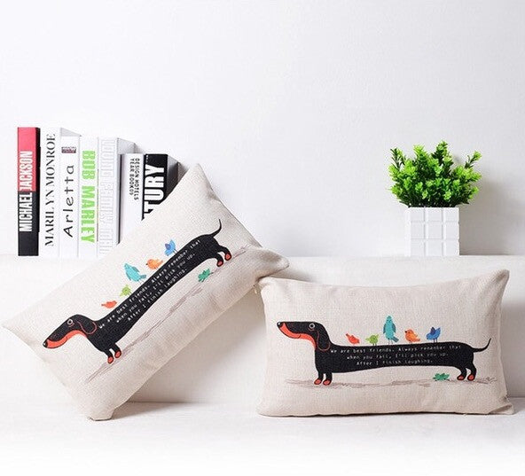 Dachshund Dogs And Birds Illustration Cushion Cover
